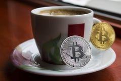 Twee bitcoins Stock Afbeelding