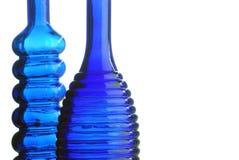 Twee blauwe flessen Royalty-vrije Stock Afbeelding