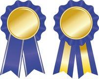 Twee blauwe toekenningslinten Stock Foto