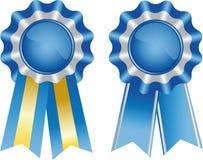 Twee blauwe toekenningslinten Stock Afbeelding