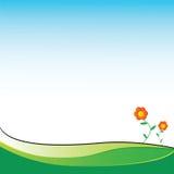 Twee bloemen op een gebied met plaats voor uw tekst Royalty-vrije Stock Afbeelding