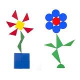 Twee bloemen van geometrische cijfers Stock Afbeelding