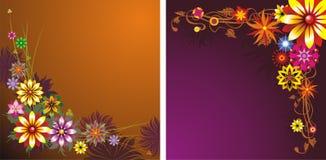 Twee bloemenachtergronden vector illustratie
