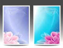 Twee bloemenbanners of achtergrond met roze magen Stock Afbeeldingen