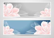 Twee bloemenbanners op blauwe grijze achtergrond Stock Afbeelding