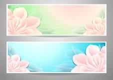 Twee bloemenbanners op groene mariene achtergrond Royalty-vrije Stock Afbeelding