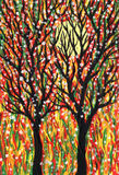 Twee bomen en de zon Kunstbeeld Royalty-vrije Stock Foto's
