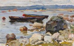 Twee boten bij de rotsachtige kust royalty-vrije illustratie