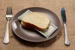 Twee boterhammen met honderd Amerikaanse dollarsrekening als Ha Royalty-vrije Stock Fotografie