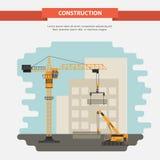 Twee bouwkranen De bouw van het bureau vlak Royalty-vrije Stock Fotografie