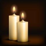 Twee brandende kaarsen op zwarte achtergrond vector illustratie