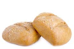 Twee broden van brood op een witte achtergrond Stock Foto