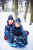 Twee broers op slee Royalty-vrije Stock Foto