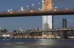 Twee bruggen in de Stad van New York Stock Afbeeldingen