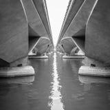 Twee bruggen en licht stock foto's