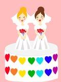 Twee bruiden op de cake Stock Foto's