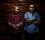 Twee brutale reusachtige mannetjes met baarden Stock Fotografie