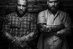 Twee brutale reusachtige mannetjes met baarden Royalty-vrije Stock Foto