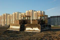Twee bulldozers in ochtend Stock Fotografie