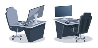 Twee Bureaus met Computers Vectorillustratie vector illustratie