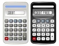 Twee Calculators (Vrije Schuld en Schuld) Stock Foto's
