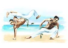 Twee capoeiravechters op het strand, concept over mensen, levensstijl en sport, waterverfhand getrokken illustratie Stock Afbeelding