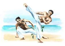 Twee capoeiravechters op het strand, concept over mensen, levensstijl en sport, waterverfhand getrokken illustratie Royalty-vrije Stock Fotografie
