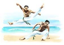 Twee capoeiravechters op het strand, concept over mensen, levensstijl en sport, waterverfhand getrokken illustratie Stock Foto's
