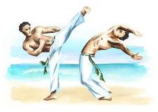 Twee capoeiravechters op het strand, concept over mensen, levensstijl en sport, waterverfhand getrokken illustratie Stock Afbeeldingen