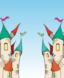 Twee cartoomkasteel scetch Royalty-vrije Stock Afbeeldingen