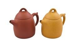 Twee ceramische theepotten Stock Afbeeldingen