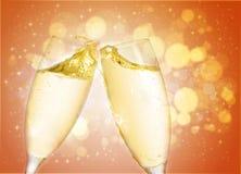 Twee champagneglas Royalty-vrije Stock Afbeeldingen