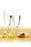 Twee champagneglazen Stock Foto's