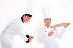 Twee chef-koks - het koken is pret Stock Foto