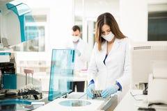 Twee chemici die in een laboratorium werken Stock Afbeeldingen