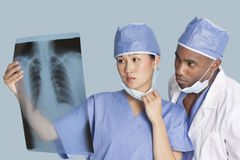 Twee chirurgen die x-ray rapport over lichtblauwe achtergrond onderzoeken Royalty-vrije Stock Foto