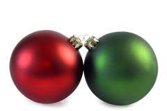 Twee chrismasballen Royalty-vrije Stock Afbeelding