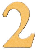 2, twee, cijfer van hout combineerden met geel geïsoleerd tussenvoegsel, Stock Afbeeldingen