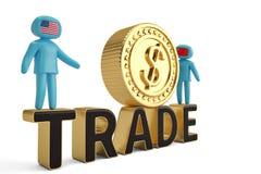 Twee cijfermensen op handelswoord en grote gouden muntstuk 3D illustratio vector illustratie