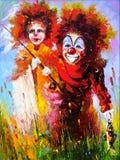 Twee clowns bij de visserij Stock Afbeeldingen