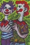 Twee clownsvrienden het schilderen Stock Foto
