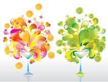 Twee cocktails van de Kleur Stock Foto
