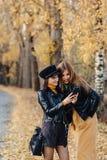 twee comfortabele jonge meisjesgang bij de weg van het de herfstpark een merkfoto's stock afbeeldingen