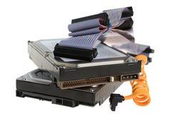 Twee computerharde schijven met kabels Royalty-vrije Stock Fotografie