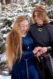 Twee dames in de winterbos stock afbeeldingen