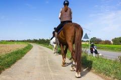 twee dames die paard berijden op een zonnige september-dag stock afbeeldingen