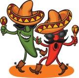 twee dansende beeldverhaal Mexicaanse peper Royalty-vrije Stock Fotografie