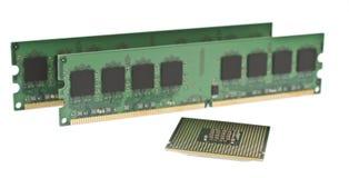 Twee ddr2 geheugenmodules en een cpu Royalty-vrije Stock Afbeelding