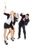 Twee de bedrijfsvrouw slaan de man omslagen Royalty-vrije Stock Afbeeldingen