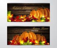 Twee de herfstbanners Stock Foto